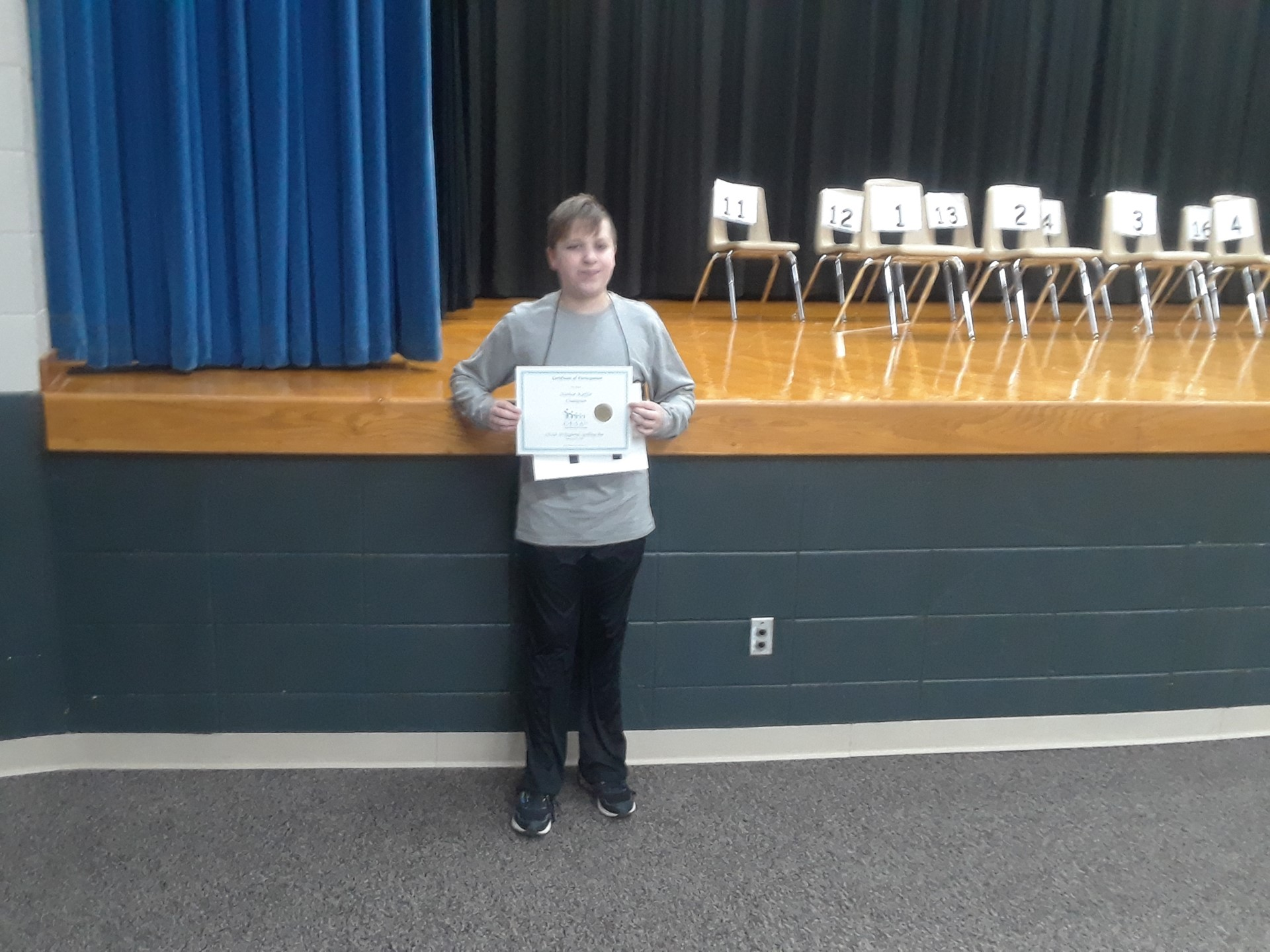 Nathan Kieffer participated in the CESA 10 Spelling Bee