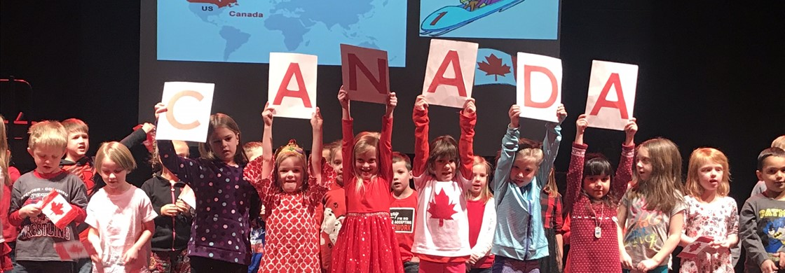 Our kindergartners during the Opening Ceremony of our Winter Olympic Games.  They were representing out neighbor to the north, Canada!