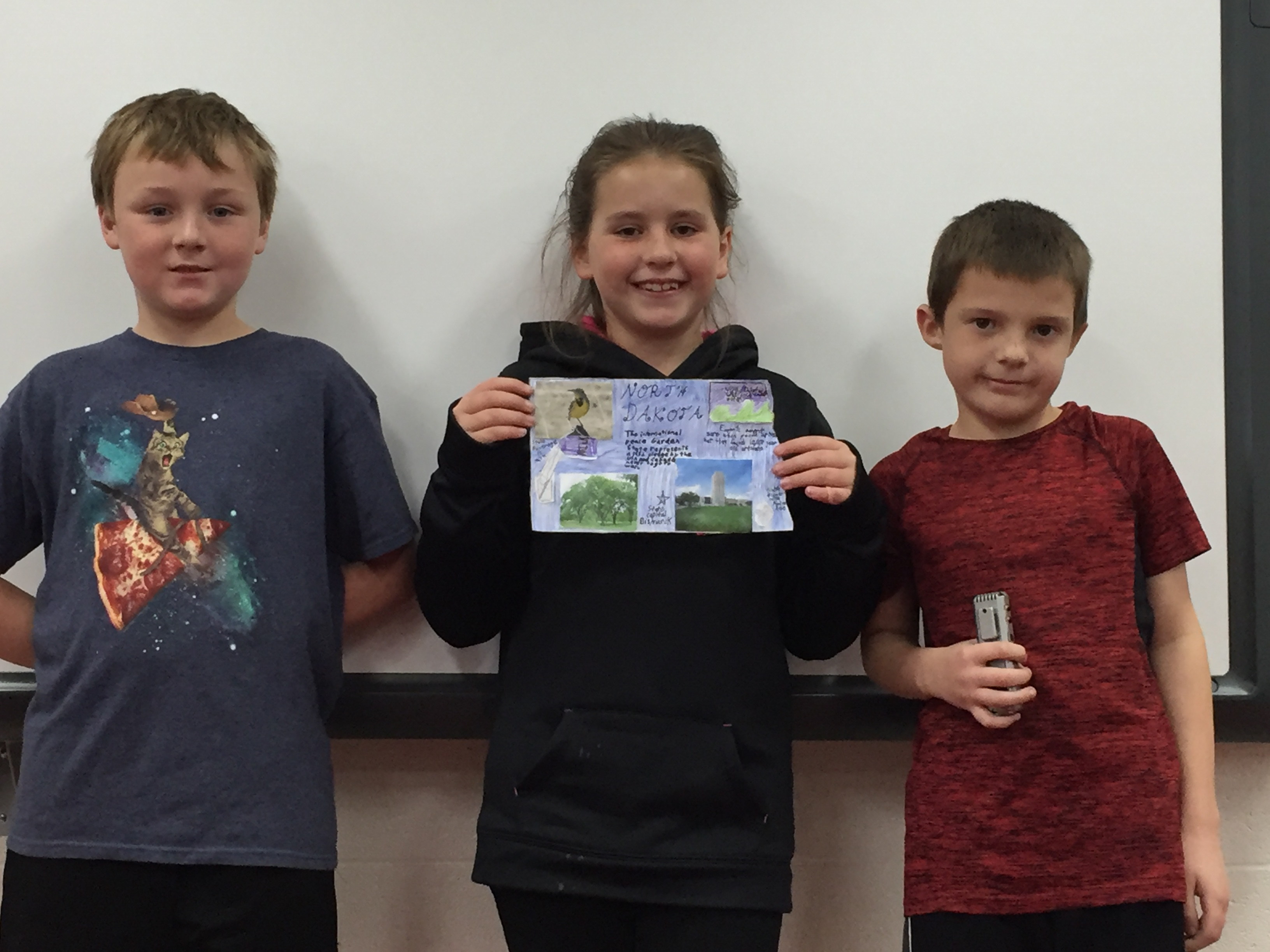 Team North Dakota! Students worked in groups to research and give a presentation on a Midwest state.