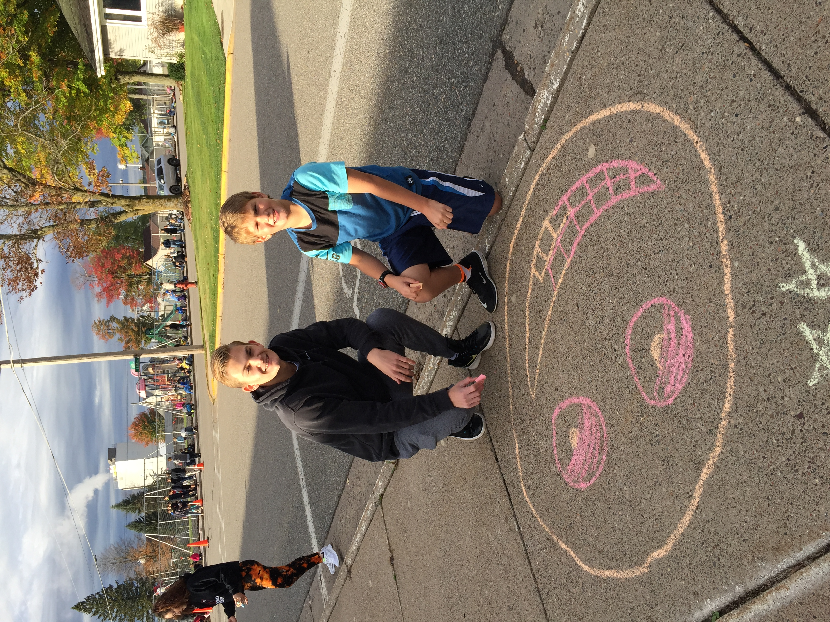 Celebrating Kindness in Chalk sibling style :)