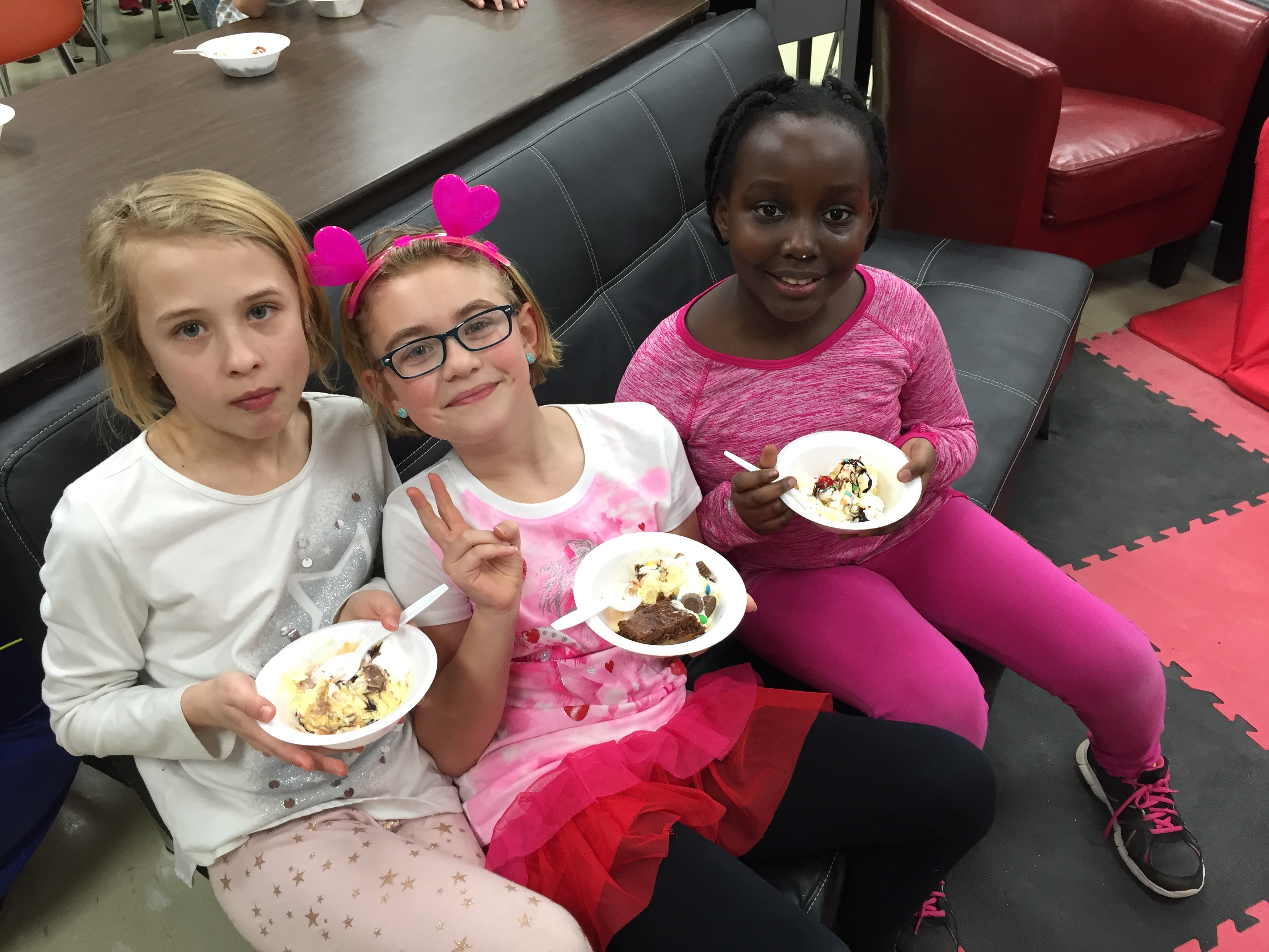 Enjoying ice cream sundaes!
